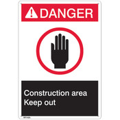 "ANSI Z535 Rigid Plastic ""Danger Construction Area"" Sign, 7"" x 10"""