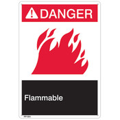 "ANSI Z535 Rigid Plastic ""Danger Flammable"" Sign, 7"" x 10"""