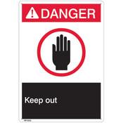 "ANSI Z535 Rigid Plastic ""Danger Keep Out"" Sign, 7"" x 10"""