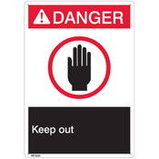 "ANSI Z535 Rigid Plastic ""Danger Keep Out"" Sign, 7"" x 10"""