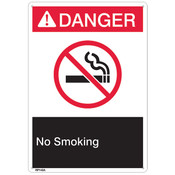 "ANSI Z535 Rigid Plastic ""Danger No Smoking"" Sign, 7"" x 10"""