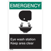 "ANSI Z535 Rigid Plastic ""Emergency Eye Wash…"", 7"" x 10"""