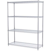 "Akro-Mils® Wire Shelf Starter Unit, 63"" Shelf Post, 18"" x 48"" Wire Shelf"