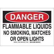 """Brady® """"Danger Flammable Liquids..."""" Sign, 10"""" x 14"""""""