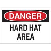 "Brady® ""Danger Hard Hat Area"" Sign, 10"" x 14"""