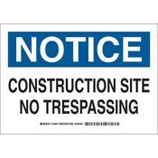 "Brady® ""Notice Construction Site No Trespassing"" Sign, 10"" x 14"""