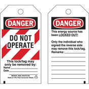 "Brady® Lockout Tag, Danger: ""Do Not Operate"" Striped Cardstock, 5 3/4"" x 3"", 25/Pkg"