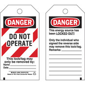 "Brady® Lockout Tag, Danger: ""Do Not Operate"" Striped Heavy-Duty Polyester, 5 1/2"" x 3"", 25/Pkg"