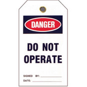 "Brady® Lockout Tag, Danger: ""Do Not Operate"", Vinyl, 5 1/2"" x 3"", 25/Pkg"