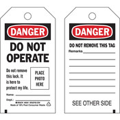 "Brady® Lockout Tag, Danger: ""Do Not Operate...Place Photo Here"", Economy Polyester, 5 3/4"" x 3"", 10/Pkg"