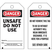 "Brady® Lockout Tag, Danger: ""Unsafe Do Not Use"", Economy Polyester, 5 3/4"" x 3"", 25/Pkg"