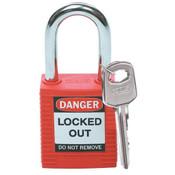 Brady® Safety Padlock, Red, 1/Pkg