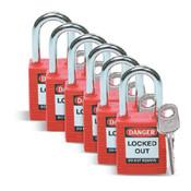 Brady® Safety Padlock, Red, 6/Pkg