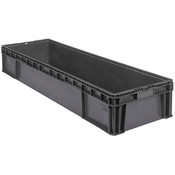 "Buckhorn® Straight Wall Container, 48""L x 15""W x 8""H, Dark Gray"