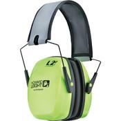 Howard Leight Leightning® Earmuffs, L2FHV Foldable, NRR 27, Hi-Vis Bright Green