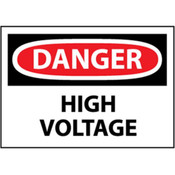 "NMC™ OSHA ""Danger High Voltage"" Sign, Rigid Plastic, 10"" x 14"""