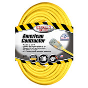 Vinyl SJTW Outdoor Extension Cord w/ Lighted End, 12/3 ga, 15 A, 100'