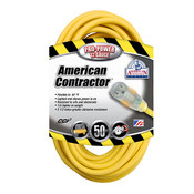 Vinyl SJTW Outdoor Extension Cord w/ Lighted End, 12/3 ga, 15 A, 50'