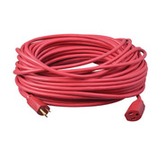 Vinyl SJTW Outdoor Extension Cord, 14/3 ga, 15 A, 100', Red