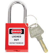 TruForce™ Safety Padlock w/ Steel Shackle, Red