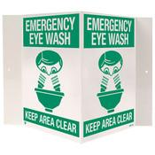 """Emergency Eye Wash Sign, 3-D Rigid Plastic, 18"""" x 10"""""""