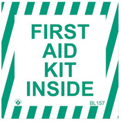 """First Aid Kit Inside Sign, Self-Adhesive Vinyl, 4"""" x 4"""""""