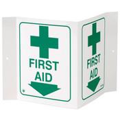 """First Aid Sign, 3-D Rigid Plastic, 5"""" x 6"""""""