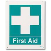 "First Aid Sign, Rigid Plastic, 8"" x 10"""