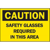 "Brady® ""Caution: Safety Glasses Required In This Area"" Sign, Aluminum, 10"" x 14"""