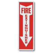 "Fire Extinguisher w/ Arrow Sign, Aluminum, 12"" x 4"""