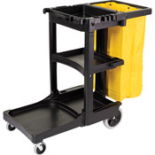 "Rubbermaid® Cleaning Cart, 46""L x 38 3/8""H x 21 13/16""W, Black"
