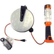 Fluorescent Retractable Cord Reel Task Light, 16/3 ga, 30', 13 W, Orange