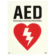 "AED Sign, Glow-In-The-Dark Vinyl, 6"" x 8"""