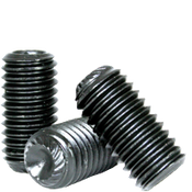 "#10-32 X 1"" Knurled Cup Point Socket Set Screws, Thermal Black Oxide (5000/Pkg.)"