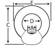 M12-1.75 DIN 582 Eye Nuts, Stainless Steel (50/Pkg)
