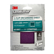 3M SandBlaster Clip-On Palm Sanding Sheets 9660SB-ES, 4.5 in x 5.5 in, 60 Grit, 5/Pack