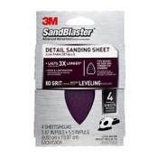 3M SandBlaster Mouse/Corner Cat Sandpaper Sheets 9671SB-ES, 80 Grit, 5/Pack