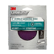 3M SandBlaster Sanding Discs 9521SB-ES, 5 in x 8Hole, 60 Grit, 3 Each - 5 Packs
