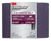3M SandBlaster Sanding Belt, 9611, 4 in x 24 in, 80 Grit, 6/Case