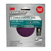 3M SandBlaster Sanding Discs 99621SB-ES, 5 in x 8Hole, 60 Grit, 8 Each 3 Pack