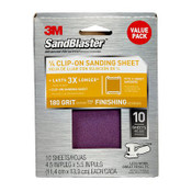 3M SandBlaster Palm Sander Sheets 99662SB-ES, 4.5 in x 5.5 in, 180 Grit, 10 Each 3 Pack