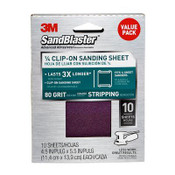 3M SandBlaster Palm Sander Sheets 99663SB-ES, 4.5 in x 5.5 in, 80 Grit, 10 Each 3 Packs