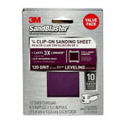 3M SandBlaster Palm Sander Sheets 99664SB-ES, 4.5 in x 5.5 in, 120 Grit, 10 Each 3 Pack