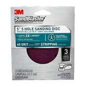 3M SandBlaster Sanding Discs, 9421ES-30-B, 5 in X 5-hole, 60 Grit, 3 Each 5 Packs