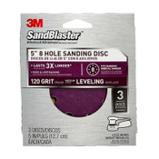 3M SandBlaster Sanding Discs 9523SB-ES, 5 in x 8Hole, 120 Grit, 3 Each 5 Packs
