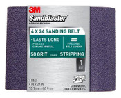 3M SandBlaster Heavy Duty Power Sanding Belt, 9610, 4 in x 24 in, 50 Grit, 6 Packs