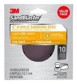 "3M SandBlaster 5"" 8-hole Sanding Discs 99525ES, 220 Grit, 10 Each 9 Pack"