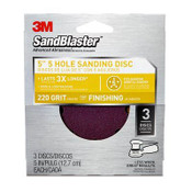 3M SandBlaster Sanding Disc, 9425ES-30-B, 5 in x 5Hole, 220 Grit, 3 Each 5 Pack