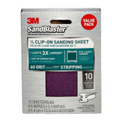 3M SandBlaster Palm Sander Sheets 99660SB-ES, 4.5 in x 5.5 in, 60 Grit, 10 Each 3 Pack