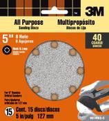 3M Pro-Pak Hookit Disc 99148 40 5 in 8 Holes, 40 Grit 15 Sheets 3 Packs